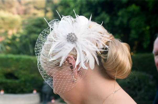 French net veil with feathers and crystal brooch