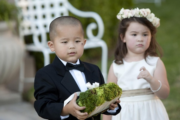 Young Asian boy and girl in wedding attire