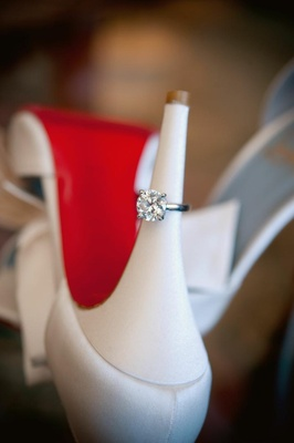 Diamong ring on heel of Christian Louboutin shoe