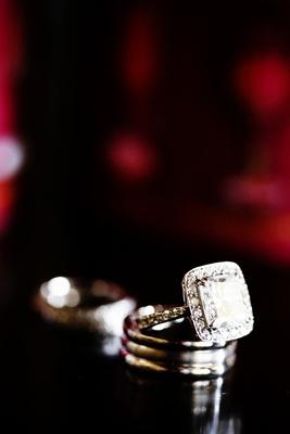 square halo diamond engagement ring