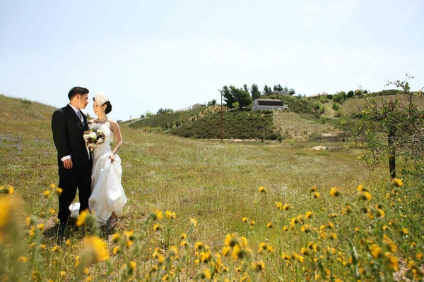 Bride and groom in meadow and sunflower field