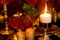 Gold leaf candle holders and burgundy roses