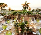 Mexico wedding reception in front of infinity edge pool