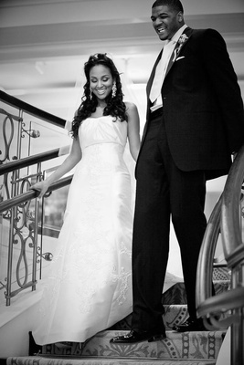 Black and white photo of Joshua Smith and bride