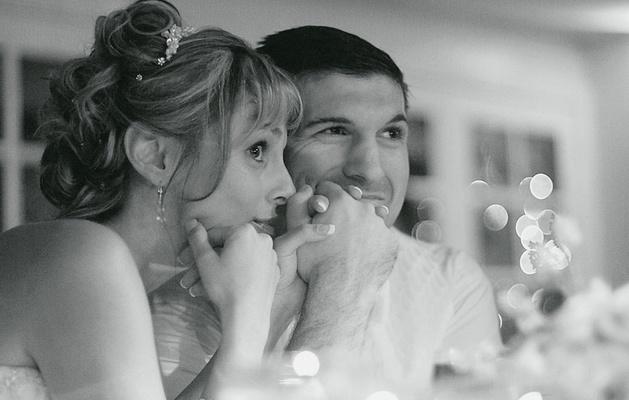 Black and white photo of newlyweds