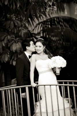Black and white photo of Asian American couple
