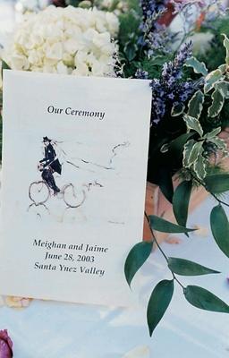 Wedding ceremony stationery with illustration