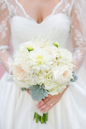 White dahlia, hydrangea, and rose bouquet with pearls